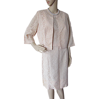 Softly Feminine Suit in Peach Lace 1960 Style by Sears Fashions Made in USA