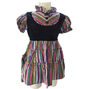 Little Girl Party Dress in Striped Taffeta and Black Velvet Mistress Mary by Keen Togs Size 3