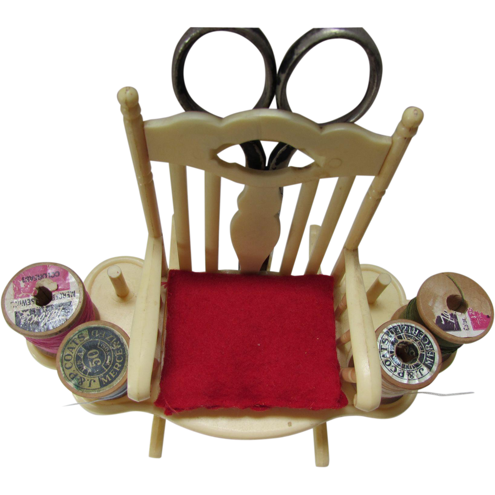 Vintage Pincushion Thread Holder Form of Rocking Chair in Butter Yellow Plastic with Red Seat