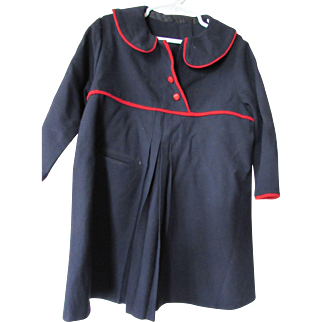 Girl's Mid Century Spring Coat in Navy with Red Trim