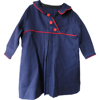 Little Girl's Spring Coat in Blue with Red Trim Mid Century