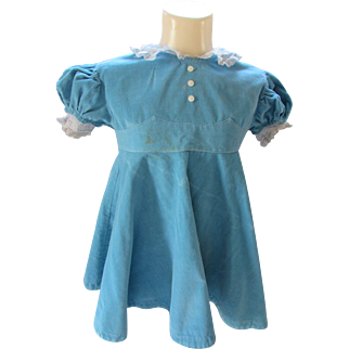 Little Girl Dress in Turquoise Corduroy  Mid Century Style by Love