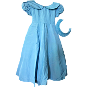 Girl's Vintage Wedding Flower Girl Dress in Turquoise Taffeta with Head Band