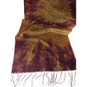 Bohemian Style 1920 Era Table Scarf or Runner in Plum and Gold Tie Dye Velvet with Fringe