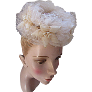 Topper Hat Whimsy Style in Frothy Nude Net and Faux Pearl Tipped Petals