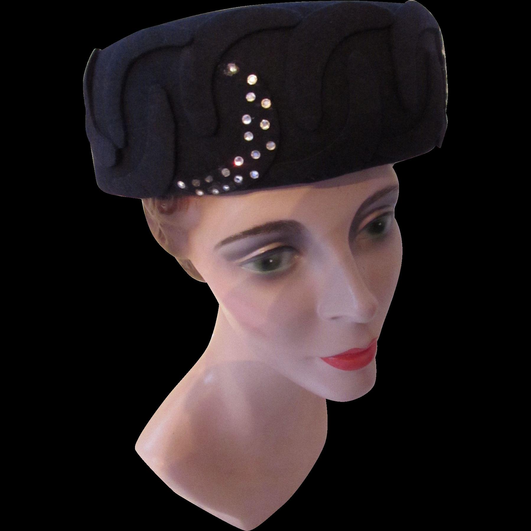 Mid Century Navy Felt Hat with Welled Crown Felt Scrolls and Rhinestone Waves Boston Store Milwaukee