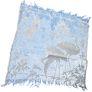 Asian Influence Net Square in White with Flying and Standing Cranes or Herons