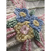 Adorable Chenille Baby Spread in Pink, Blue Bow on White