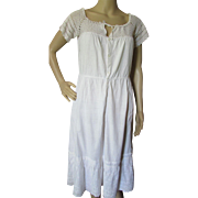 Farmhouse Style Ladies Nightgown in White Cotton and White Crochet Yoke Cottage Style