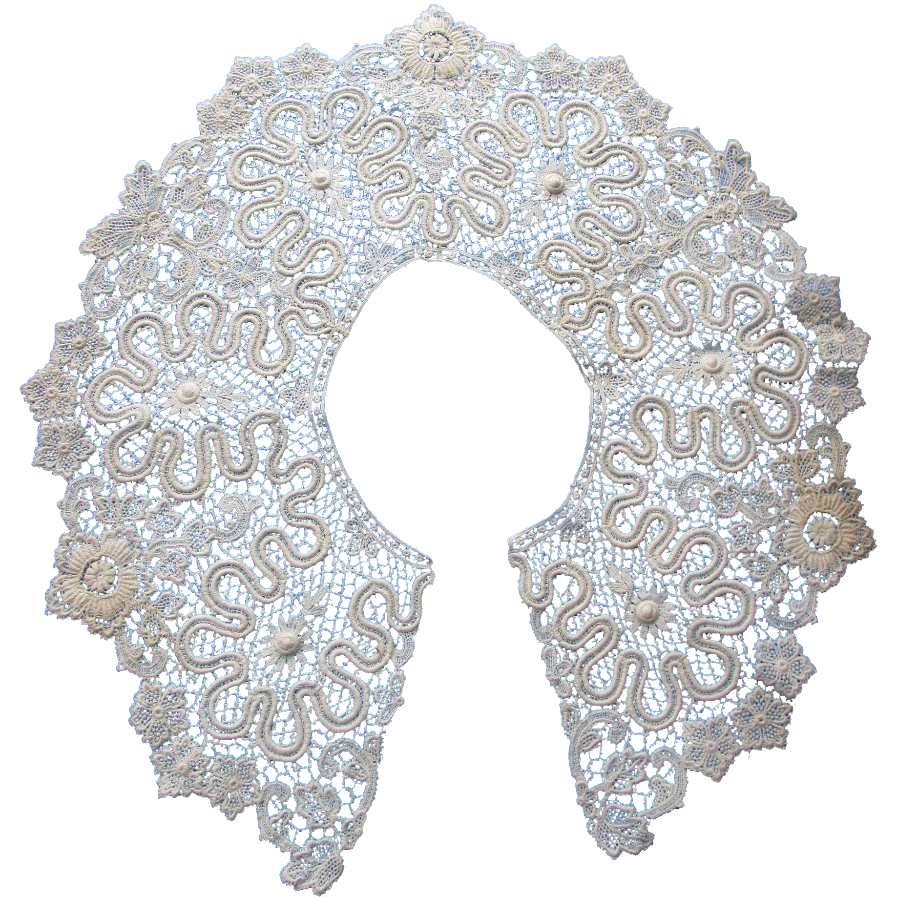 Beautiful Irish Lace Collar Open Work on Net in White Edwardian Style