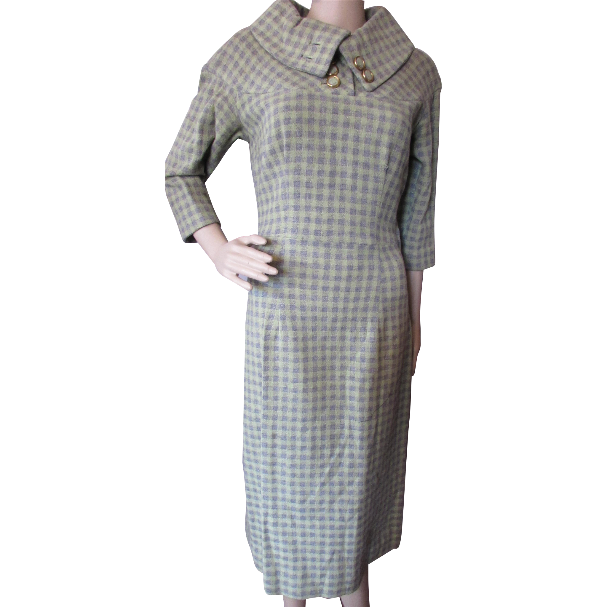 1960 Era Office Dress in Gray and Sage Plaid Wool with Cowl Neck Size Small