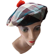 Wool Plaid Tam O Shanter Hat in Stewart Pattern Red Green Beige Brown  by Totem Western Cap Company
