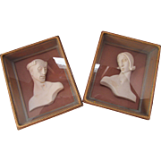 Pair Framed Plaster Busts of Paphnutius and Thais by W. E. Faser
