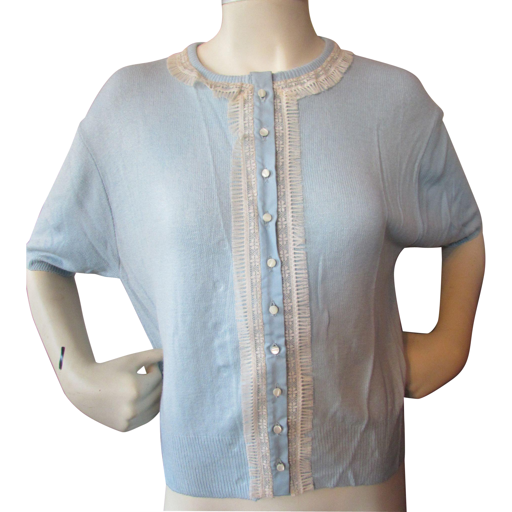 Mid-Century Orlon Sweater in Powder Blue New Old Stock from Marshall Field
