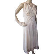 Halter Style Negligee in Nude Dupont Nylon with Lace Hem by Carter's size 34