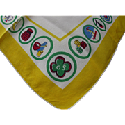Girl Scout Handkerchief with Badges Border in Yellow and Green Free Shipping USA