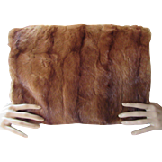 Vintage Fur Muff in Brown Rectangle Shape Mahogany Liner with Cord Tassel Mid Century