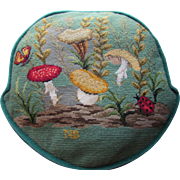 Needlepoint Pillow Shades of Green with Mushrooms and Lady Bug Nature Theme Hand Made