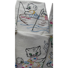 Cutest Kitchen Towels Embroidered with Cats Going Fishing Set of Six