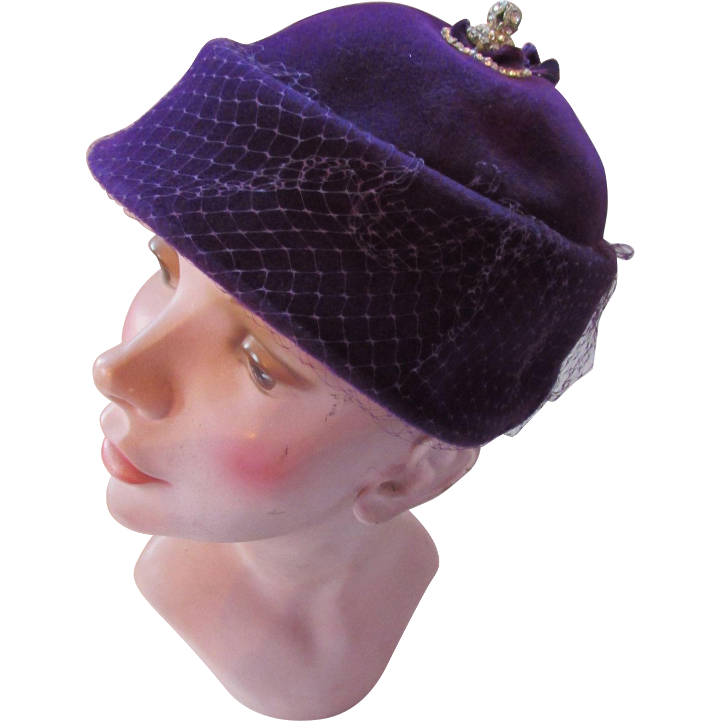 Mid Century Hat in Luscious Grape Felt with Rhinestone Decoration Made in Italy