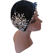 Sophisticated Cocktail Half Hat in Black Plush with Heavy Silver Tone Beading Blum's Vogue Chicago
