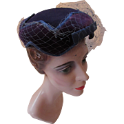 Midnight Blue Velvet Pill Box Hat Star Pattern Crown by Carson Pirie & Scott Co.