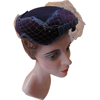 Midnight Blue Velvet Pill Box Hat Star Pattern Crown by Carson Pirie & Scott Co.