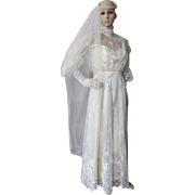 Wedding Gown with Victorian Influence in Candlelight Satin and Lace by Sylene Bridal of California Size 8
