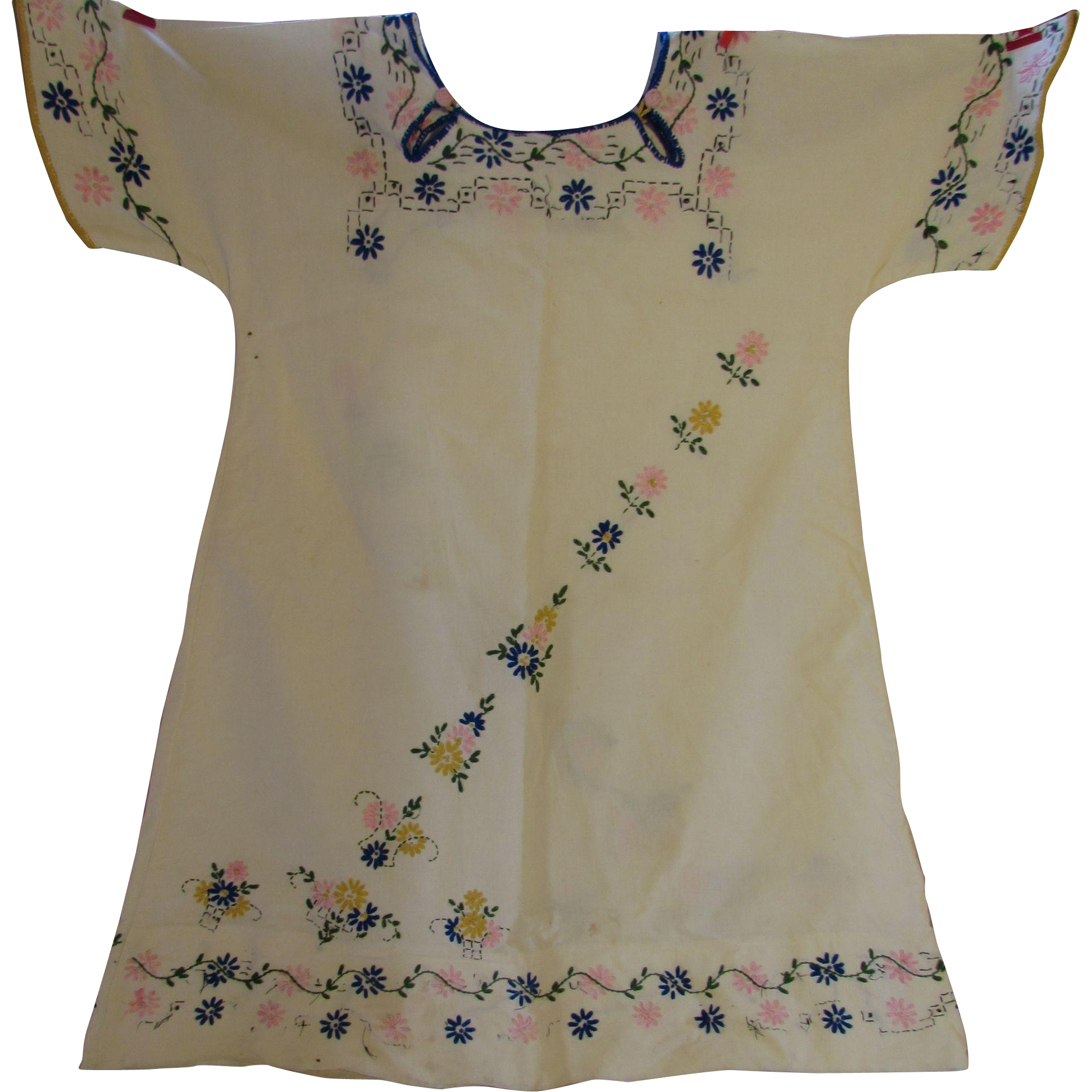 Girl's Dress 1920 Era Embroidered Flowers Hand Made