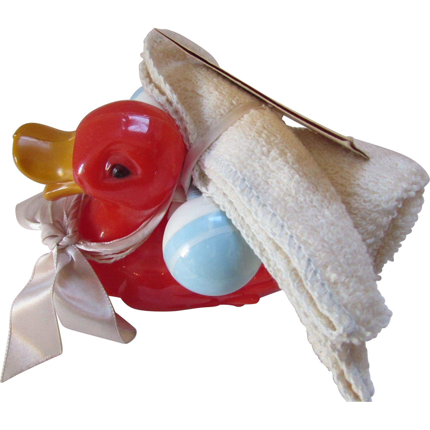 Baby Red Duckie and Blue White Rattle Gift from Grandma Baby Shower Gift