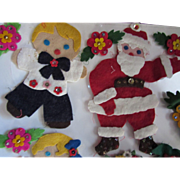 Christmas Holiday Felt and Sequin Decorations Choir Boys Reindeer and Flowers Happy Holiday