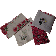 Four Vintage Christmas Holiday Handkerchiefs with Poinsettias, Snowman and Holly Bedecked Candles