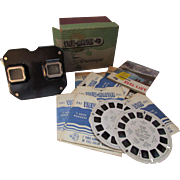 1950's Era Sawyer's Viewmaster Stereoscope in Black with Discs and Reel List