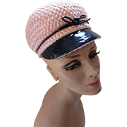 Mod Squad Visor Cap in Pink Straw and Navy Patent Leather Union Made