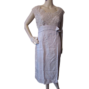 1960 Style Cocktail or Evening Dress in Beige Tone Lace