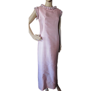 1960 Style Ballerina Pink Shantung Beaded Evening Gown by John Stevens Highland Park