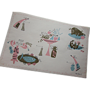 Whimsical Mid Century 1950's Pat Pritchard Paper Place Mats by Contempo Paper Ware Beach Products