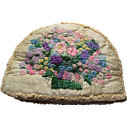 Embroidered Flower Tea Cozy in Butter Tone Ruched Satin