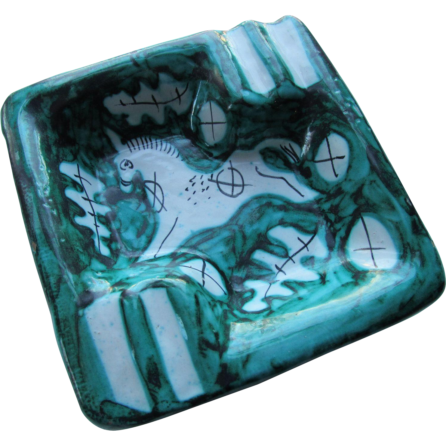 Mid Century Ceramic Ashtray Teal & White Horse in Style of Cantagalli Made in Italy