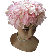 1960 Bouffant or Bubble Hat in Spring Pink Petals by Dayire