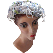 Mid Century Flower Bedecked Hat in Powder Blue Bouffant Style Union Made