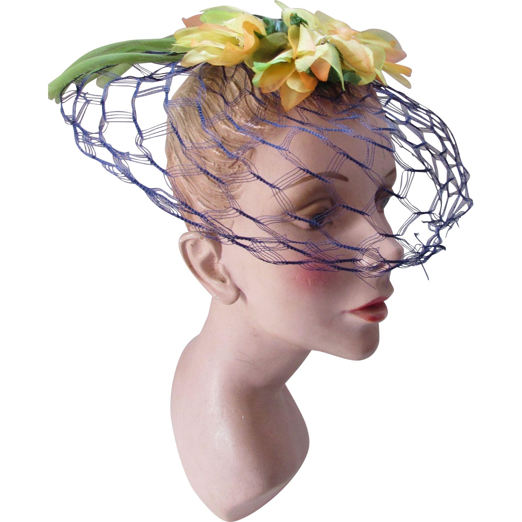 Delightful Summer Spring Whimsy Hat in Navy Veil and Citrus Flowers