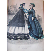 1863 Peterson's Magazine Civil War Era Fashions Engravings Colored Fashion Plates Music Poetry
