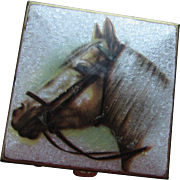 Pill Box with Enamel Palomino Horse in Silvery White Tones