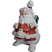 Ceramic Santa with Spaghetti Trim Christmas Decoration Holiday Figurine Santa Claus Planter