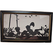 """Touchdown"" Cute Framed Silhouette of Boys Playing Football"