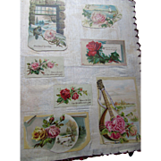 Victorian Child's Scrapbook on Cotton Tons of Scrap Work Ads, Cards