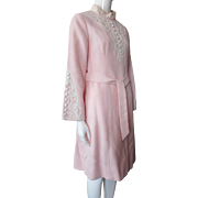 1970 Era Calderon Dress in Pink with White Embellishment Size 9/10