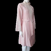 1970 Era Calderon Dress in Pink with White Embellishment Size 9/10