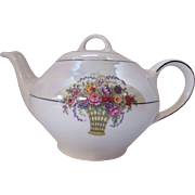 Tea Pot in Cream Lustre Ware with Colorful Basket Design Bavaria S & C